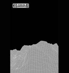 gray polygonal mountains and black sky background vector image vector image