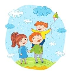 Happy family cartoon characters vector image vector image
