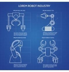 Robot arms blueprint vector