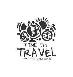 time to travel logo with globe and compass vector image