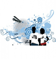 young people with airplane vector image vector image