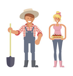 farmers family characters vector image