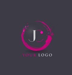 jc letter logo circular purple splash brush vector image vector image