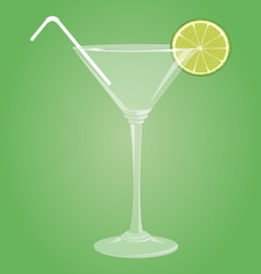 Martini glass with lime vector image vector image