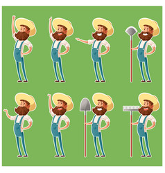 set of farmer icons4 vector image vector image
