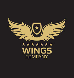 wings logo design - golden wings on black vector image vector image