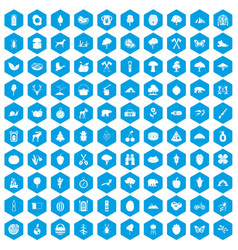 100 camping and nature icons set blue vector