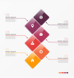 6 option infographic template with squares vector