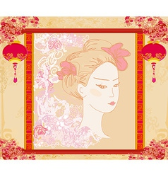 Abstract Beautiful geisha portrait vector image