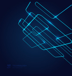 abstract geometric glow neon blue line vector image