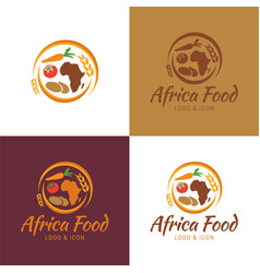 Africa food map logo and icon vector