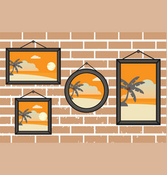 afternoon summer beach frames on a wall vector image