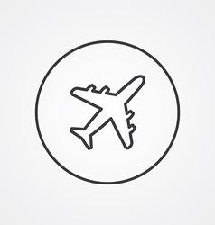 Airplane outline symbol dark on white background vector