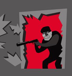 an armed robber breaks down door vector image