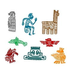 Aztec and maya ancient drawing art vector