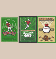 baseball sport players balls and bats on stadium vector image