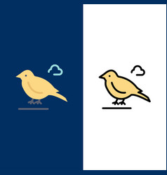 Bird british small sparrow icons flat and line vector