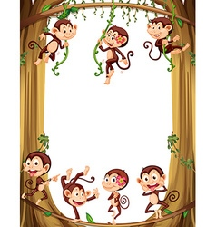 Border design with monkeys climbing the tree vector image