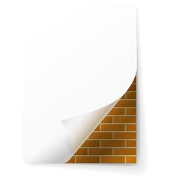 Brick wall under a sheet of paper vector image