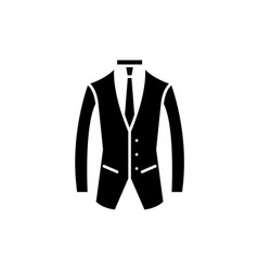business suit black icon sign on isolated vector image