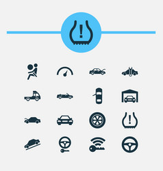 Car icons set with auto hood hill descent airbag vector