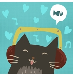 Cartoon cute cat with headphones flat mascot vector image