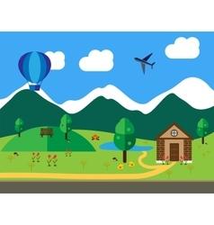 Cartoon landscape colored flat vector