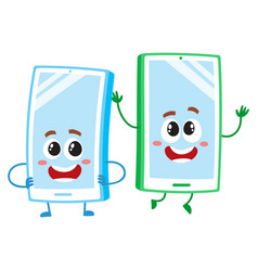 Cartoon mobile phone characters one arms akimbo vector