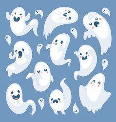 Cartoon spooky ghost halloween day celebrate vector