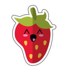 Cartoon strawberry fruit nutrition vector