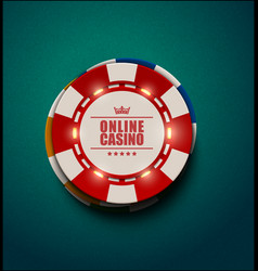 casino poker chips with luminous light vector image