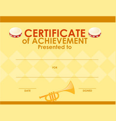 Certificate template with musical instrument vector