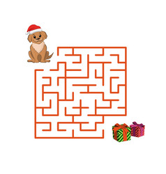 christmas children game puppy in maze vector image