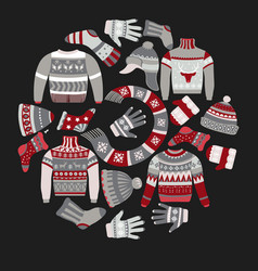 Christmas knitted clothes knitwear with ornaments vector