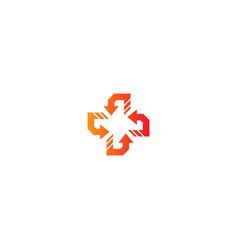Circle arrow cross sign logo vector