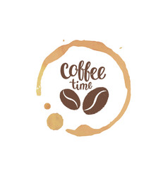 coffee cup stain and drops with lettering vector image