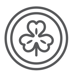 Coin with clover line icon st patrick s day and vector