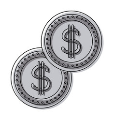 coins dollar money currency cash vector image