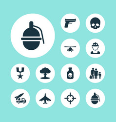 combat icons set with medal skull helicopter and vector image