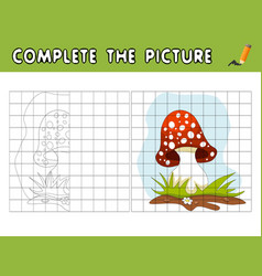 Complete the picture of cartoon amanita copy the vector