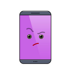 Critical mobile phone isolated emoticon vector