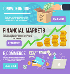 Crowdfunding banners business banking e commerce vector