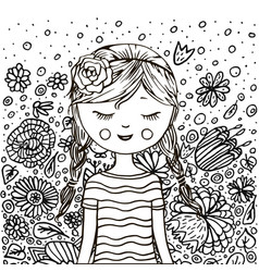 Cute little girl pattern doodle coloring book vector