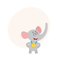 Cute proud elephant character champion wearing vector