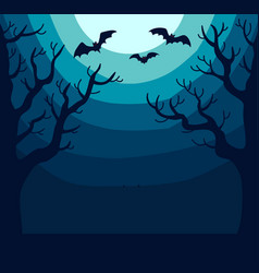 Dark spooky landscape with bright moon and bats vector