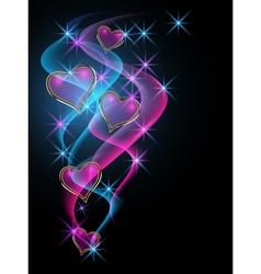 Decorative shiny hearts vector image