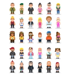 Different subcultures man and woman in flat style vector