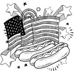 Doodle americana hotdog bw vector