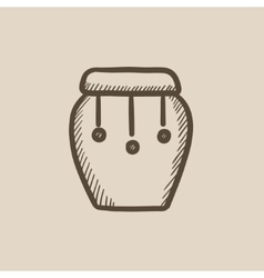 Drum instrument sketch icon vector