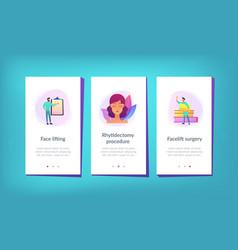 Face lifting app interface template vector